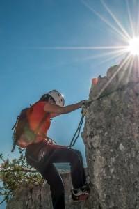 """Eine Szene aus dem Klettersteig """"s´Schuastagangl"""""""