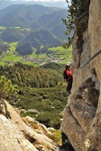 Da Knieschläderer Eine Variante im Klettersteig s´Schuastagangl auf die Steinplatte