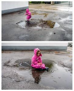 Kleinlea saß betend im Regen Auch Regen und Pfützen können so richtig Spaß machen