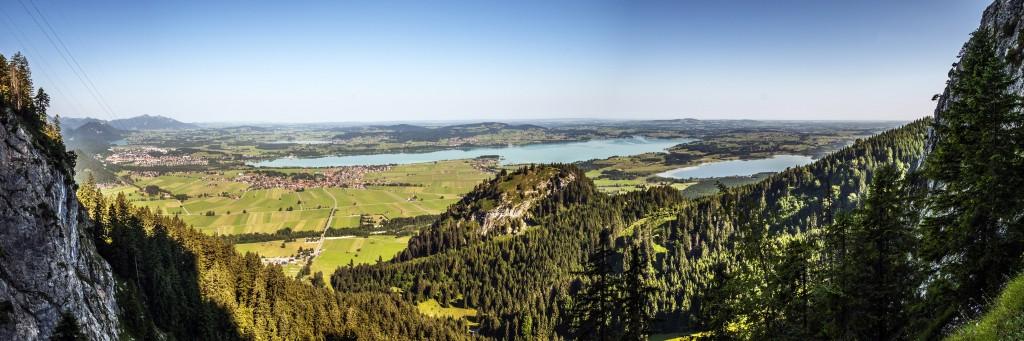 Forggensee-Panorama aus dem Tegelberg Klettersteig fotografiert