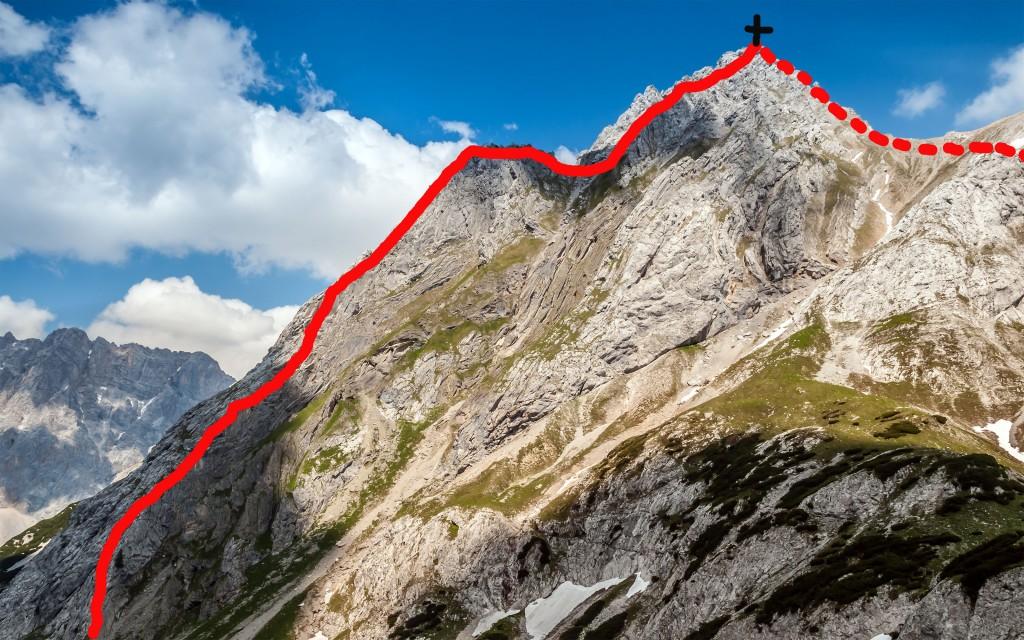 Klettersteig Tajakante auf den Vorderen Tajakopf mit Klettersteigroute