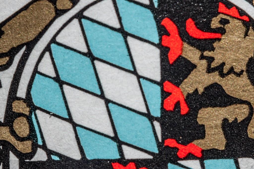 14 mm Formatfüllend Ausschnitt aus dem Ettiket der Tegernseer Brauerei