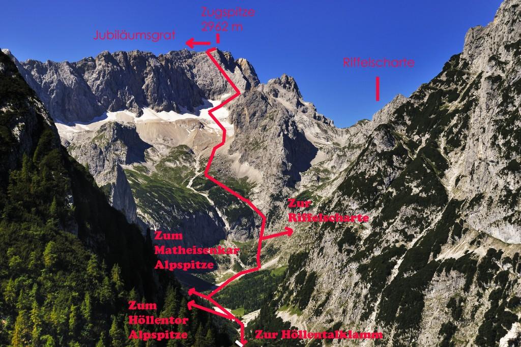 Höllental 2 Das Tal ab der Klamm bis zur Zugspitze Mit einem Wegeübersicht