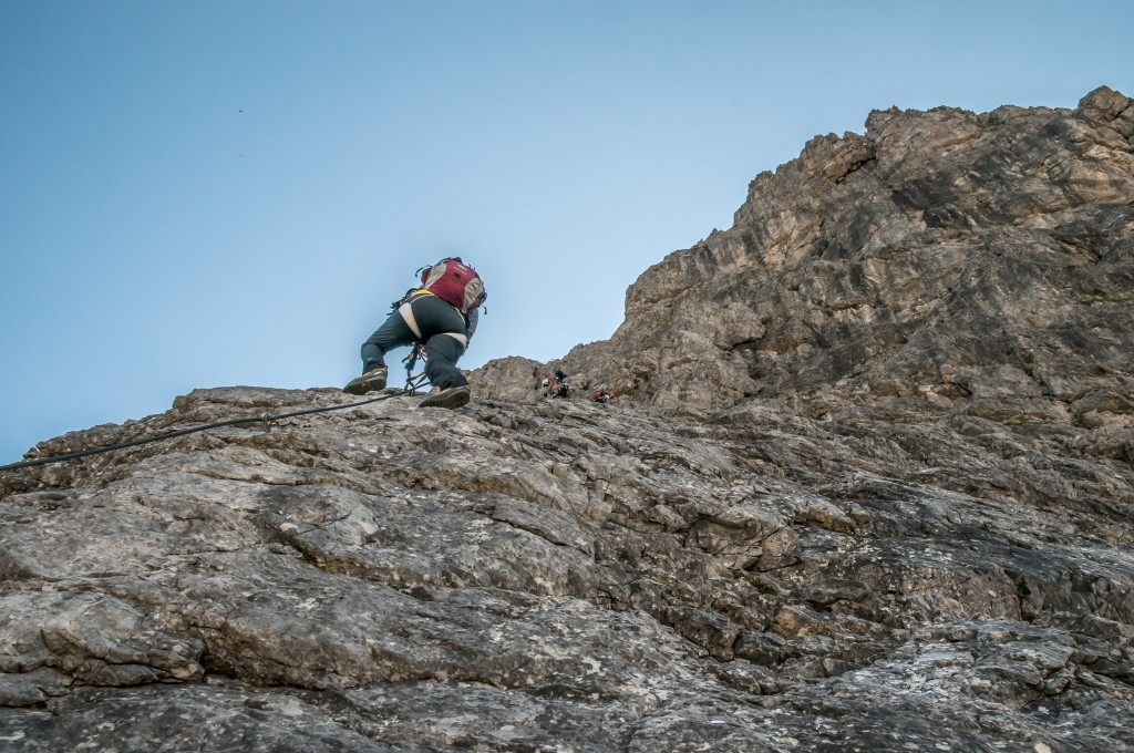 Elke im Lachenspitze-Klettersteig 1