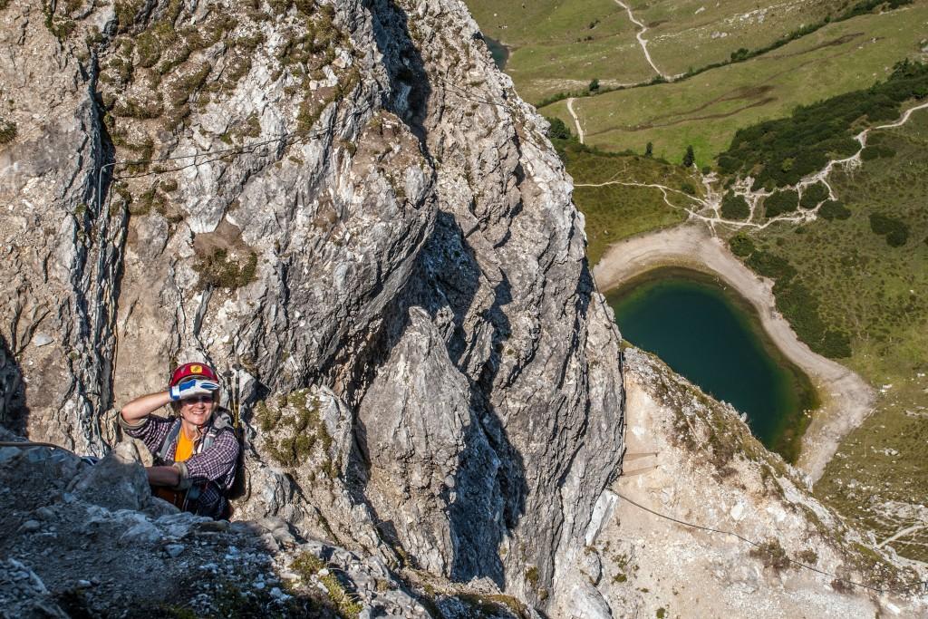 Elke im Lachenspitze-Klettersteig 3