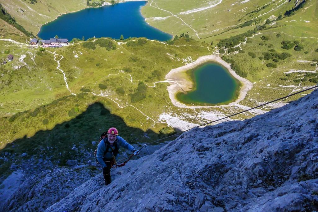 Traunalpsee und Lacke Blick aus dem Klettersteig Lachenspitze