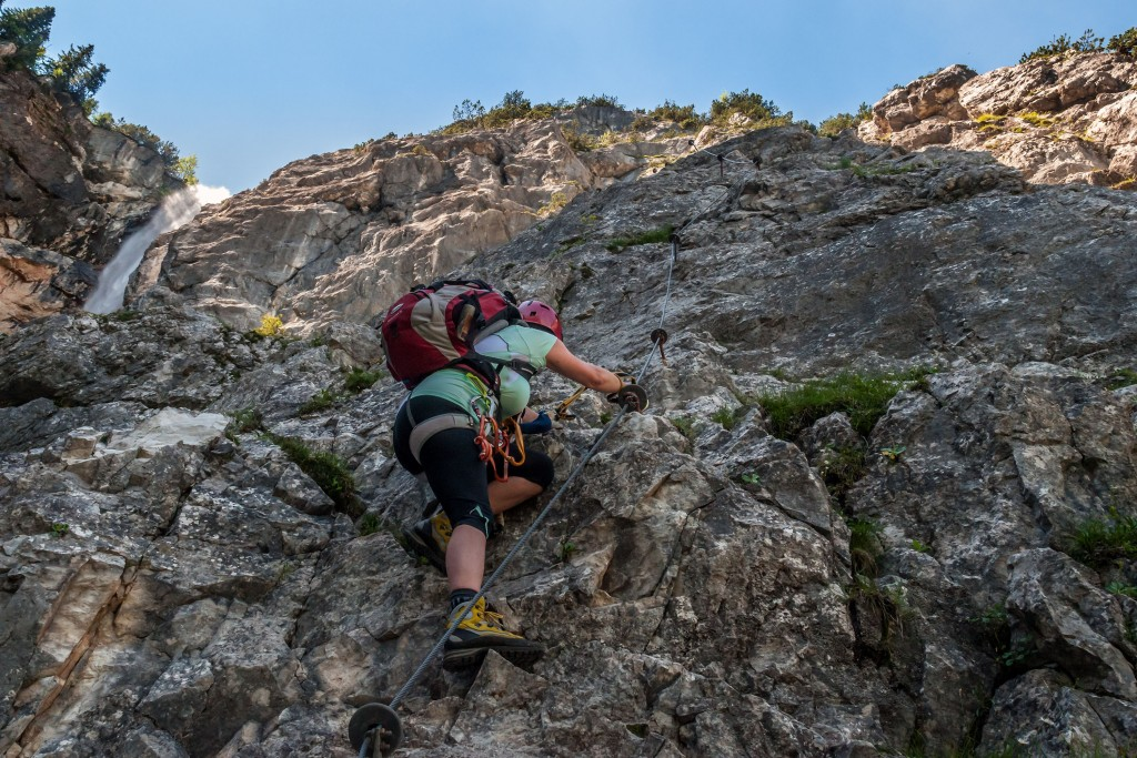 Seebenwand Einstieg Seeben Klettersteig in den Mieminger Bergen
