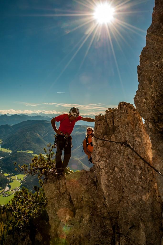 """Plausch im Klettersteig """"s´Schuastagangl"""""""
