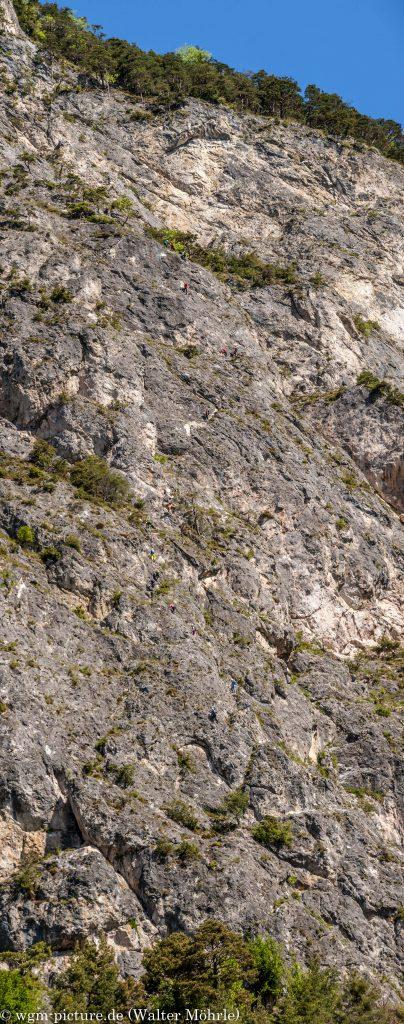 Geierwand Klettersteig Panorama senkrecht vom Parkplatz aus